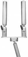 Double Rod Holder on Gimbal Mount - Straight Slotted Pole