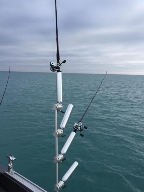 3 rod holders tree mast trolling equipment cisco fishing for Fishing pole holders